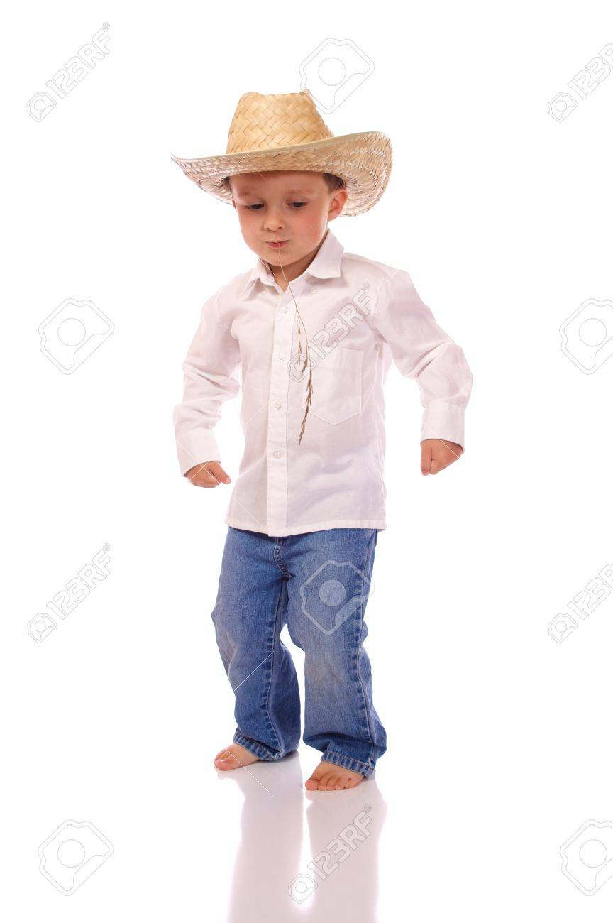 Little boy with a cowboy hat dancing Stock Photo - 18483153