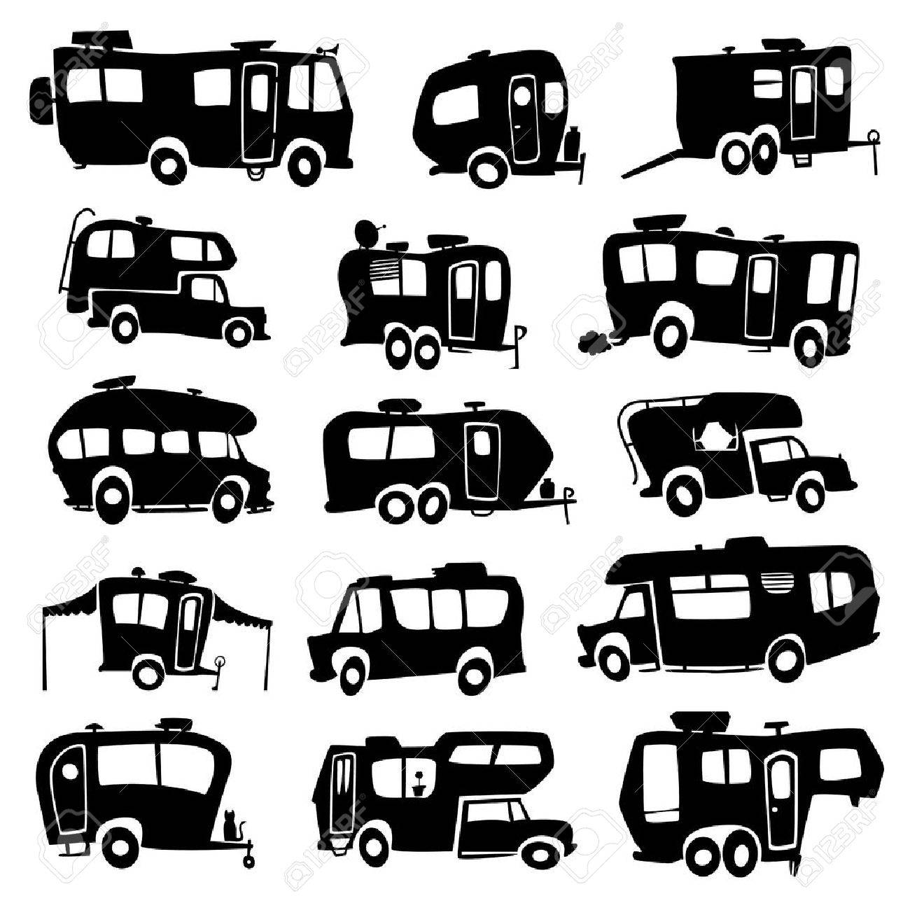 Recreational Vehicles Icons Stock Vector