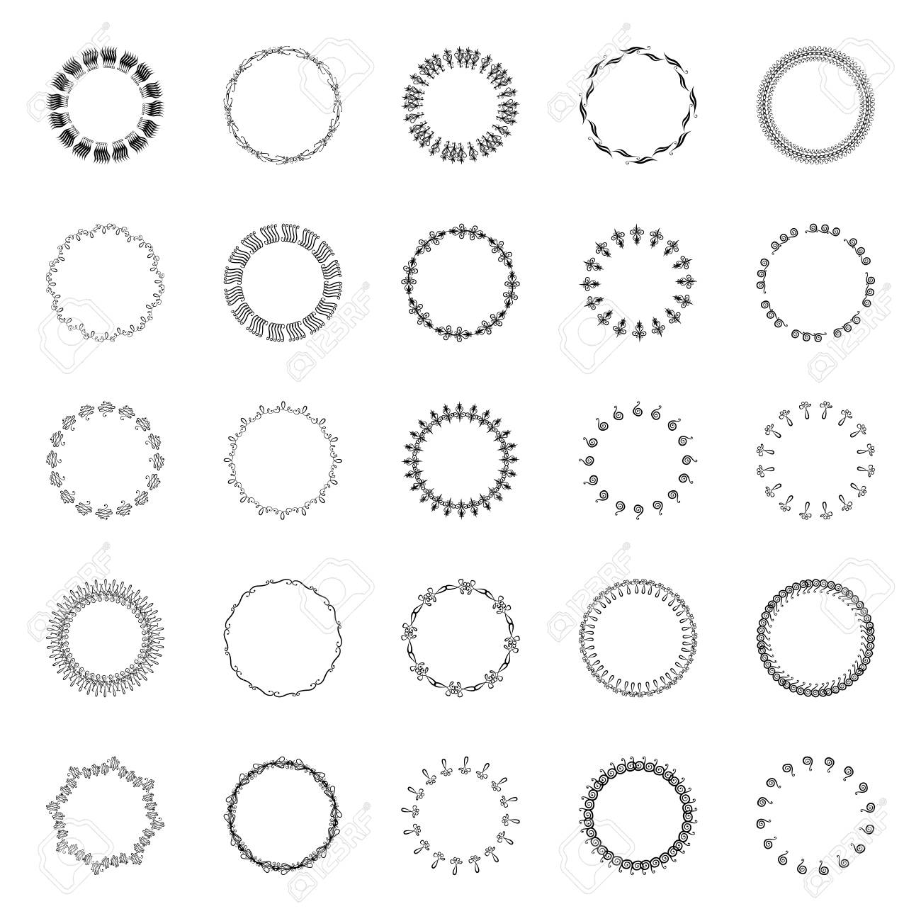 Circular Borders Ornaments On A White Background. Set Of Vector ...