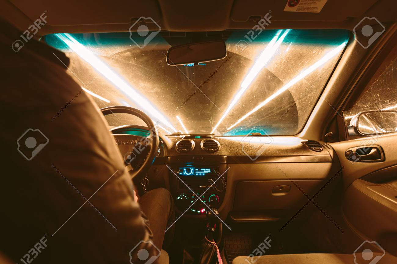 Driving At Night View From Inside The Car Photo With A Long Stock Photo Picture And Royalty Free Image Image 63553020