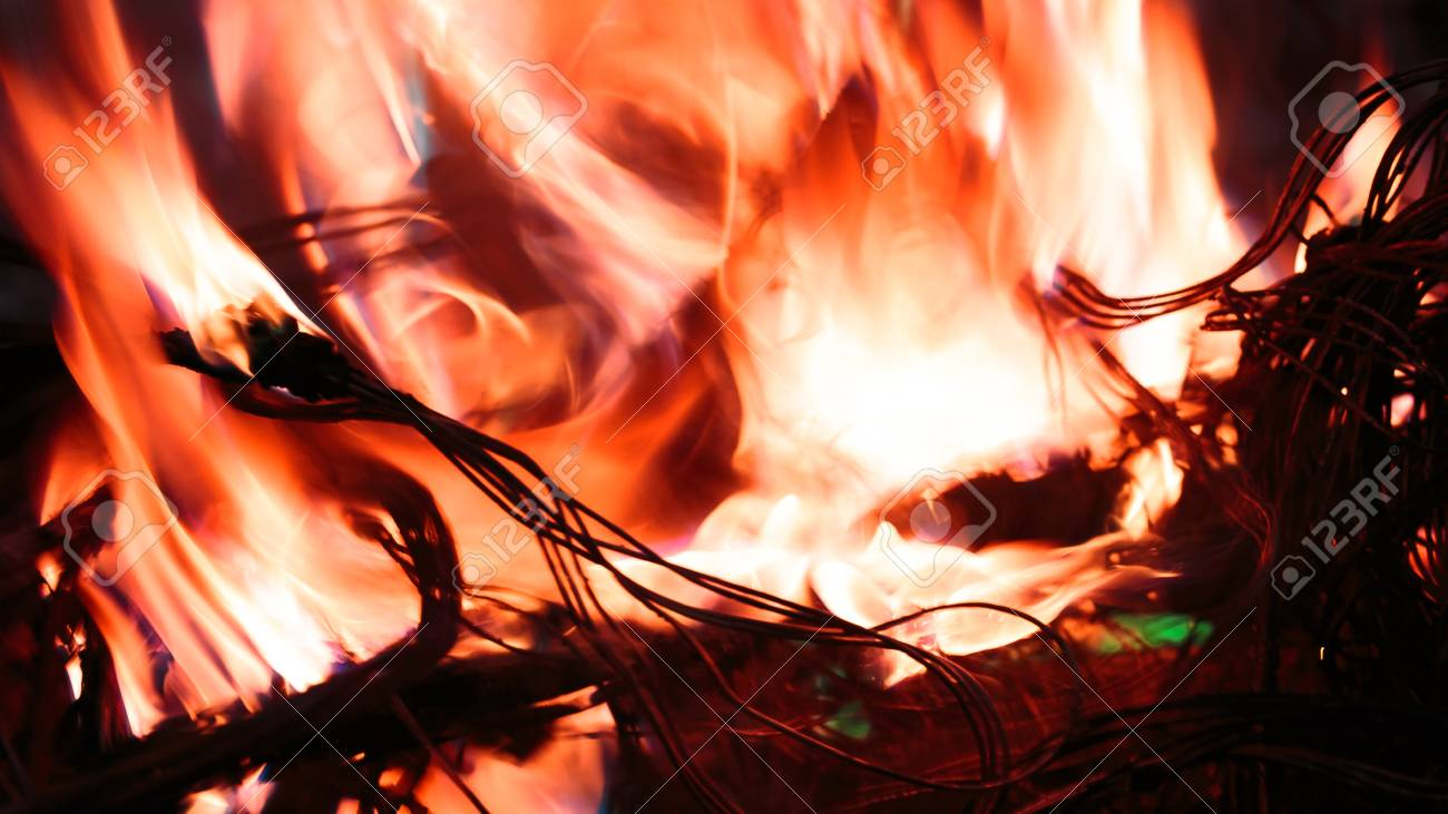 Wires On Fire Firing Winding Insulation Of Electrical Wiring Fires Stock Photo In The Close Up
