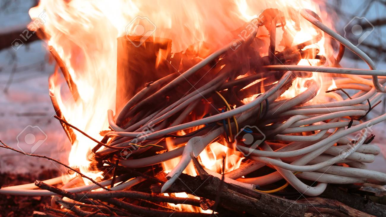 wires on fire firing winding insulation of electrical wiring rh 123rf com faulty electrical wiring fires electrical wiring-fire control box