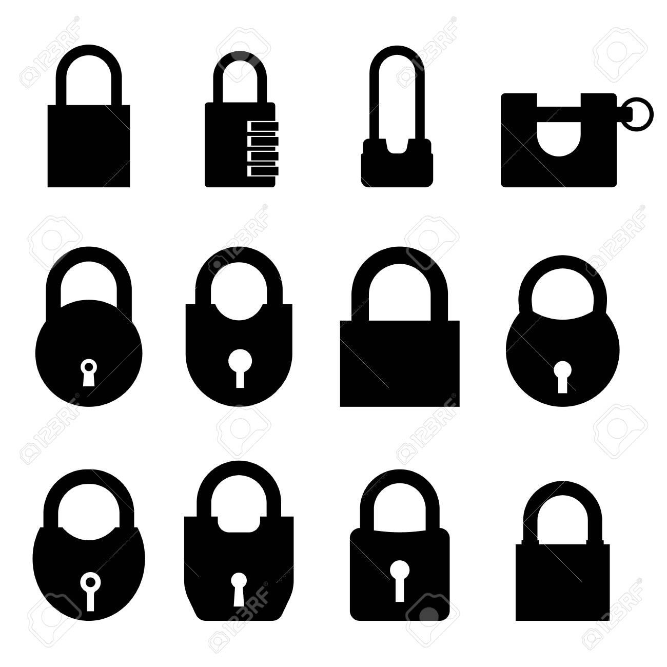 padlock vector illustration set on a white isolated background - 133863135
