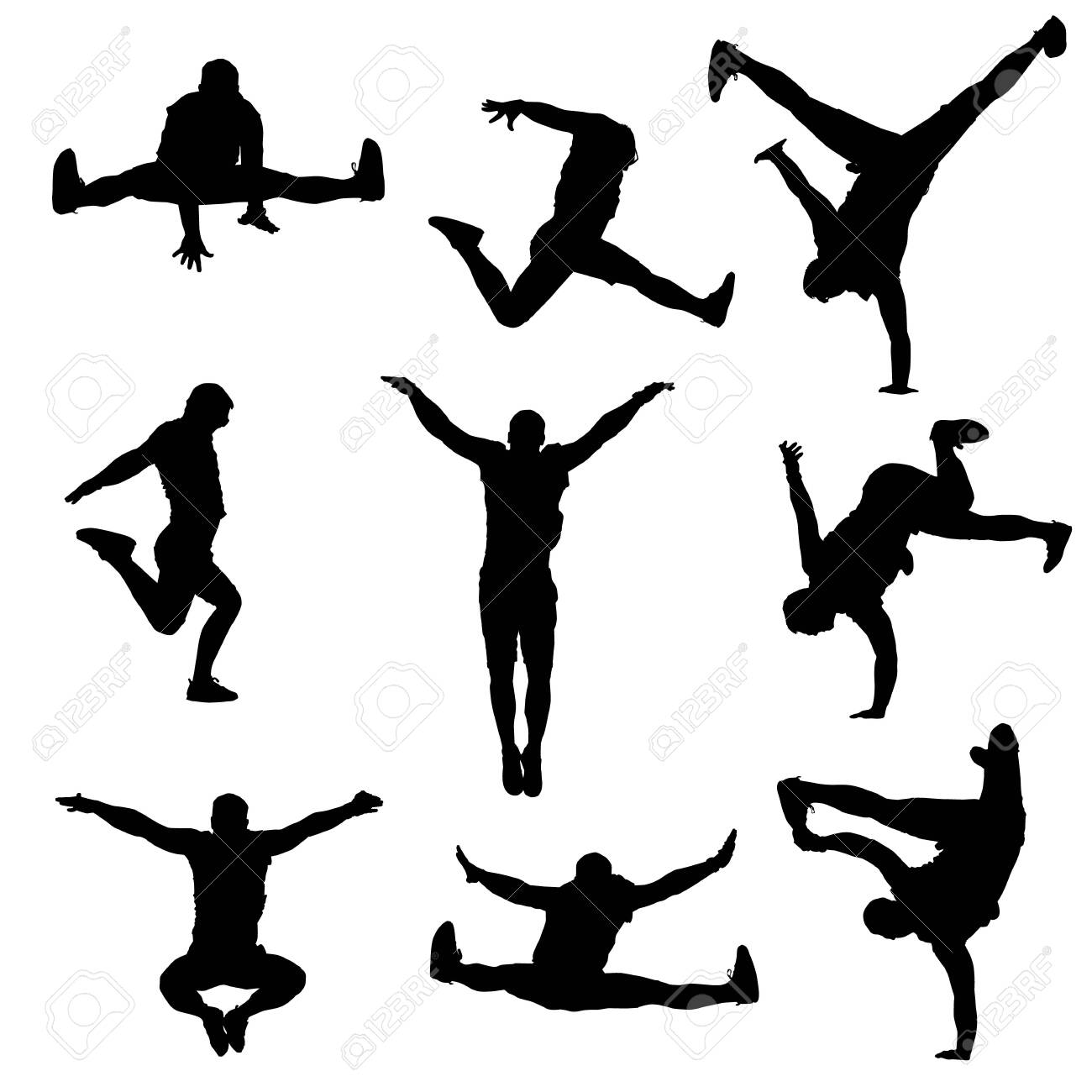vector silhouette of a modern male dancer on a white isolated white background - 134506617