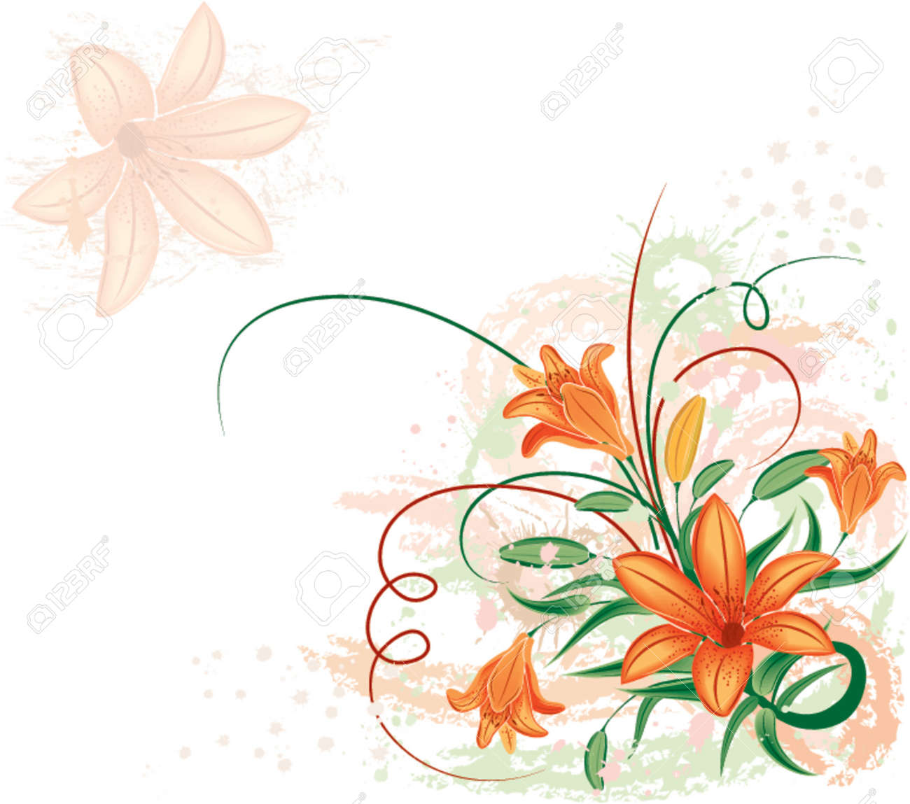 Grunge floral background with lilium, vector illustration Stock Vector - 654406