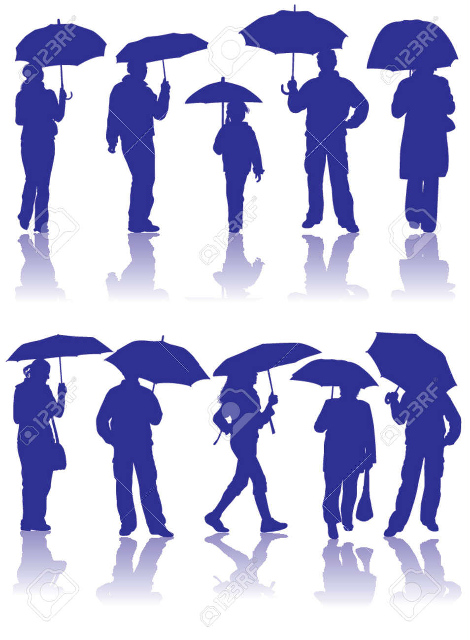 vector silhouettes man women and child with umbrella