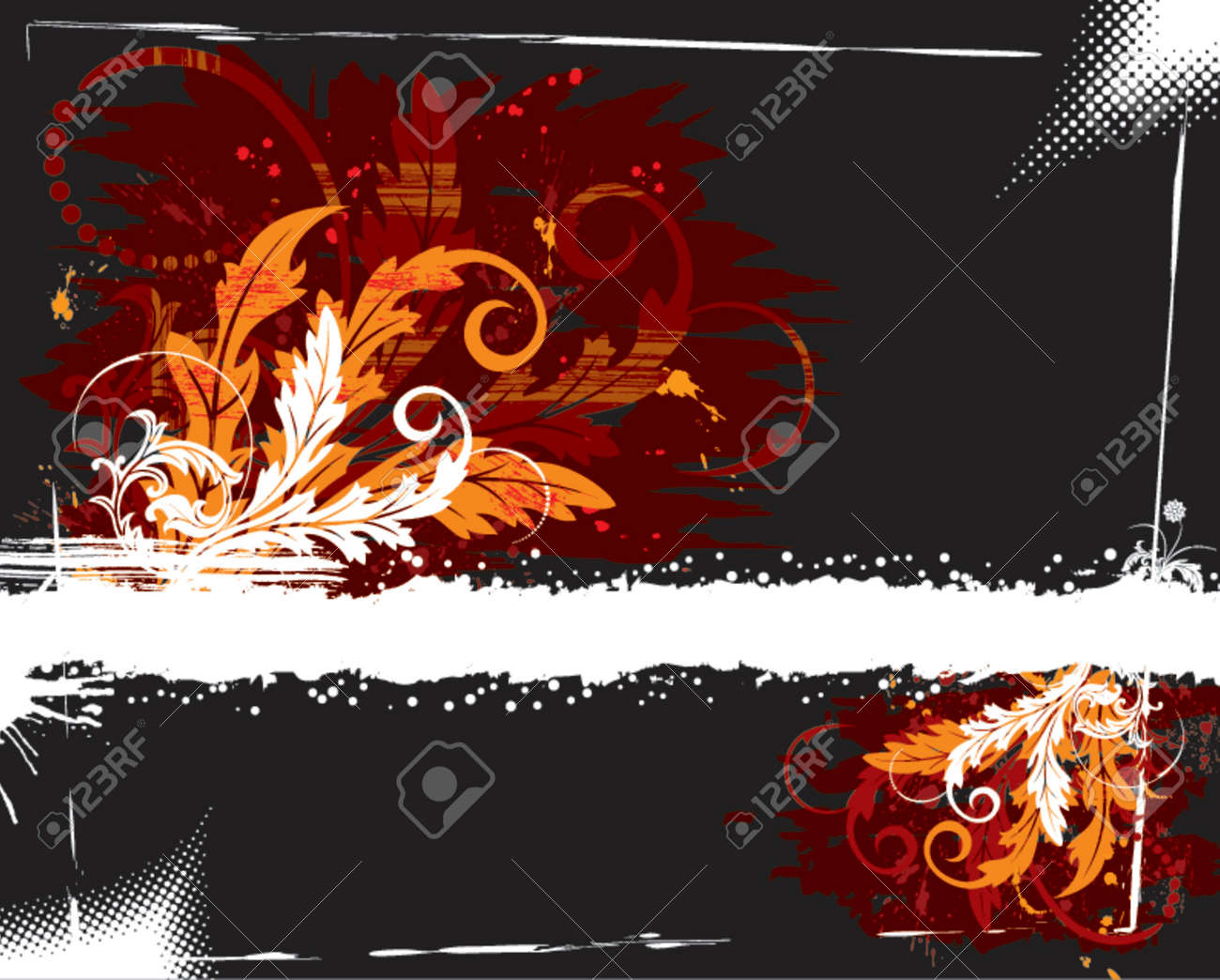 Grunge paint floral chaos, element for design, vector illustration Stock Vector - 826095