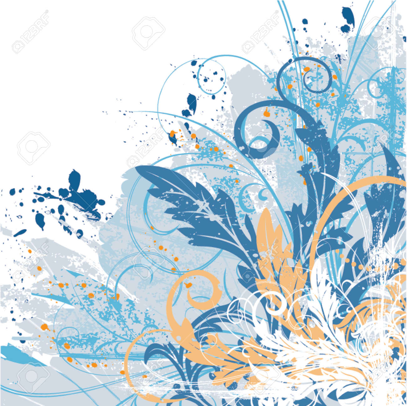 Grunge paint floral chaos, element for design, vector illustration Stock Vector - 826085
