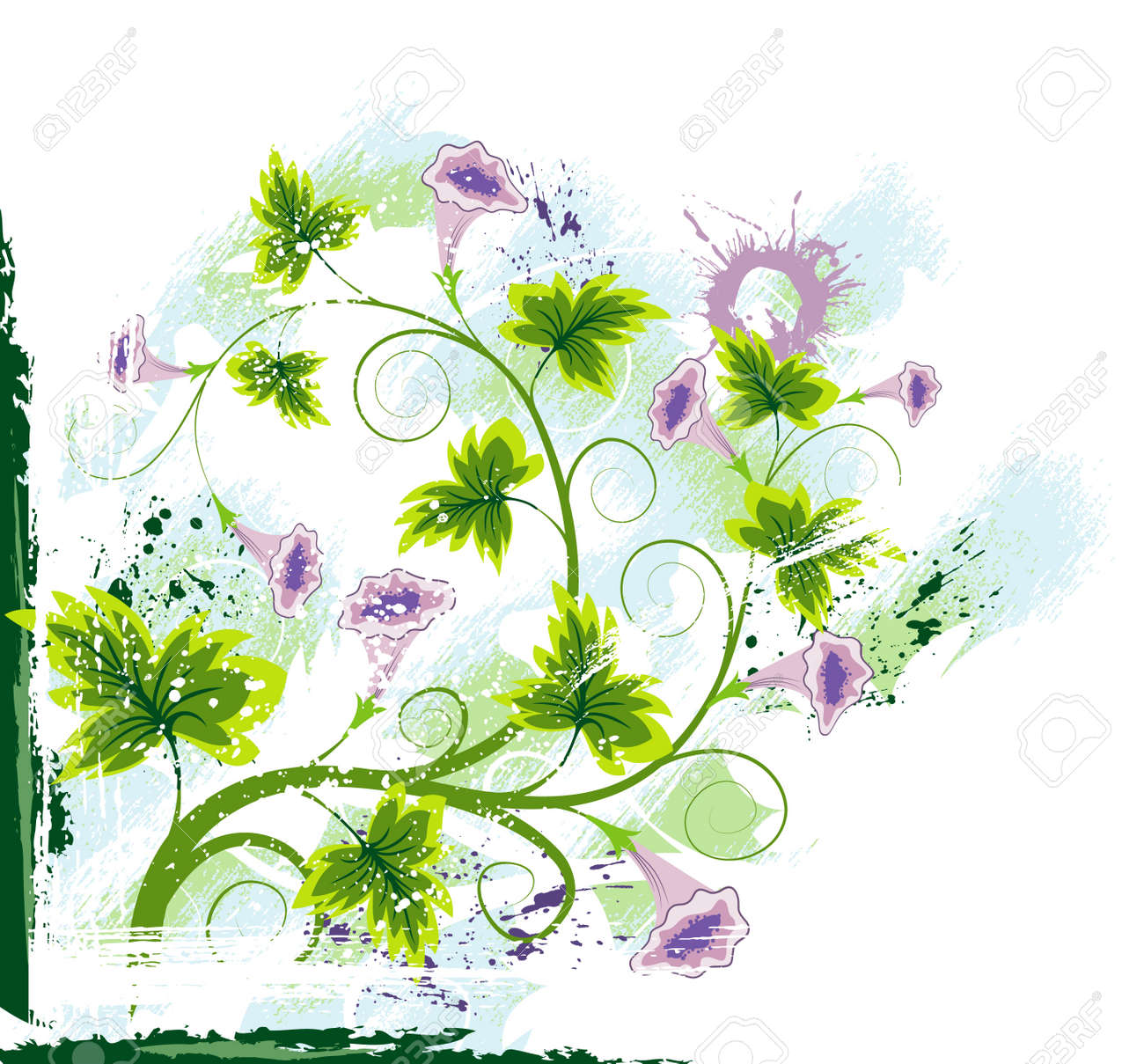 Grunge paint floral chaos, element for design, vector illustration Stock Photo - 873507