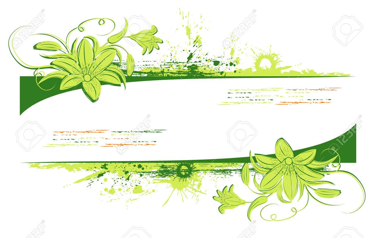 Grunge paint floral frame, element for design, vector illustration Stock Photo - 873510