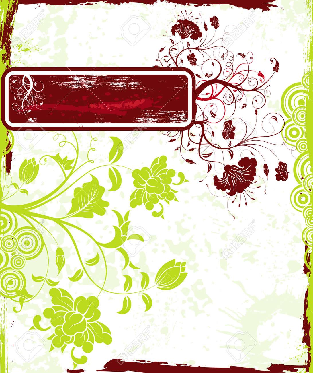 Abstract grunge floral frame, element for design, vector illustration Stock Photo - 873533
