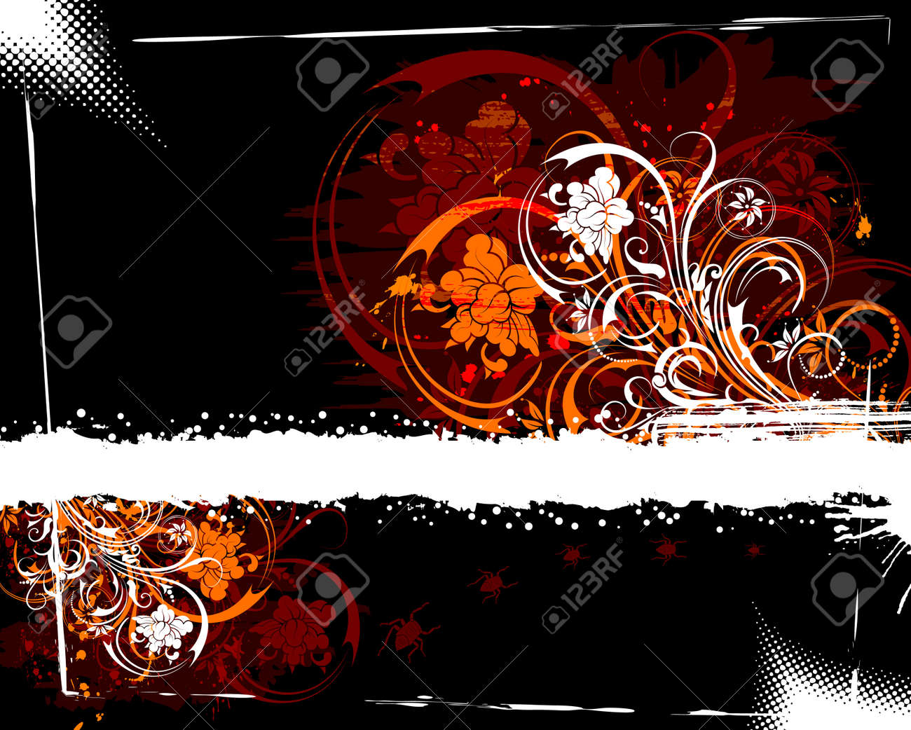 Abstract grunge floral frame with bug, element for design, vector illustration Stock Photo - 875412