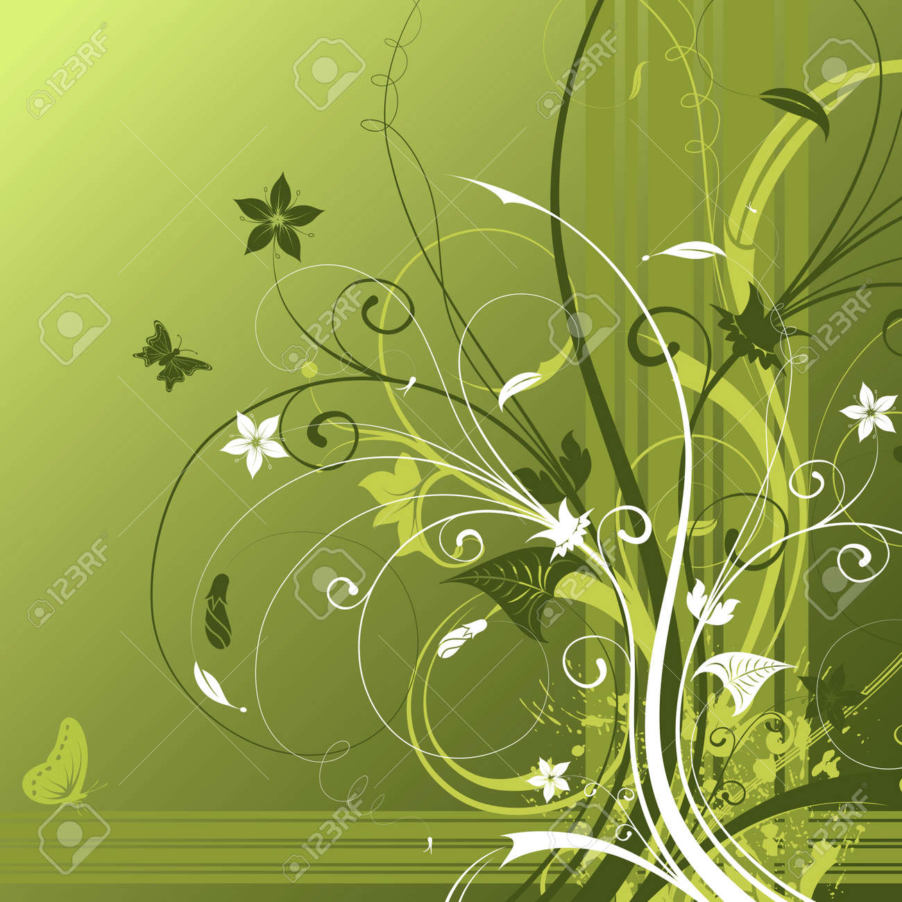 Abstract flower background with butterfly, element for design, vector illustration Stock Photo - 960144