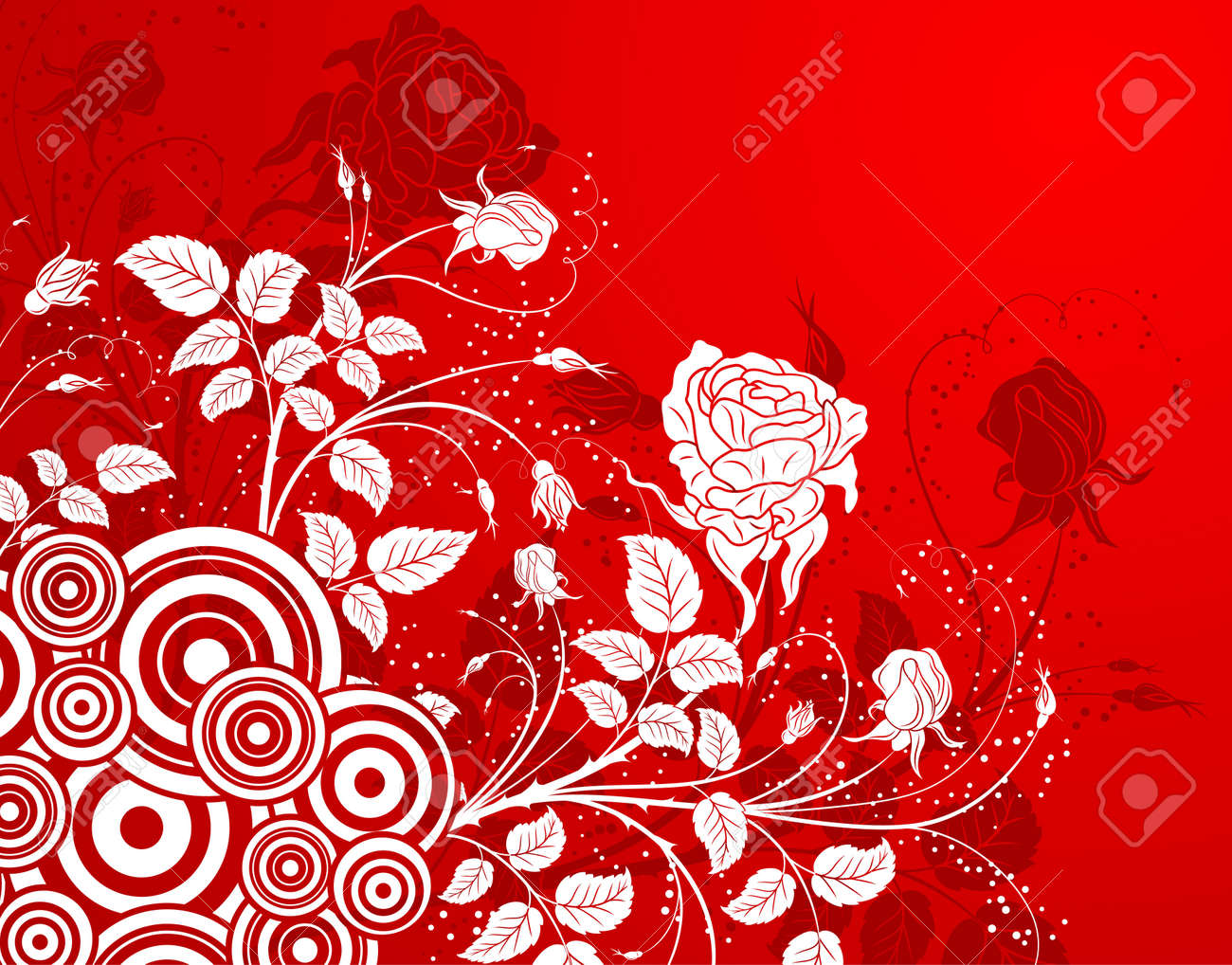 Abstract flower background with circles, element for design, vector illustration Stock Photo - 966571