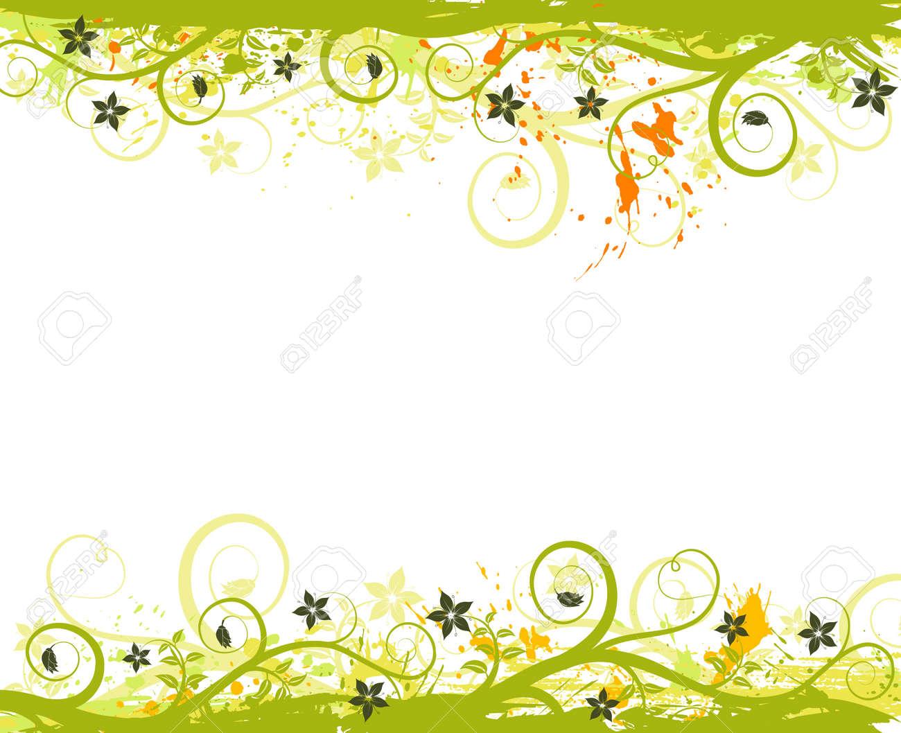 Grunge paint flower frame, element for design, vector illustration Stock Illustration - 990270