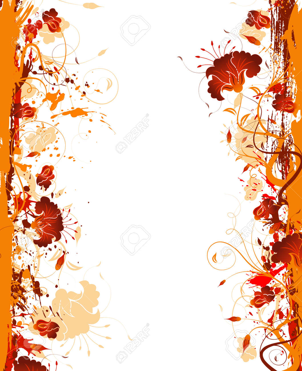 Grunge paint flower frame, element for design, vector illustration Stock Photo - 990271