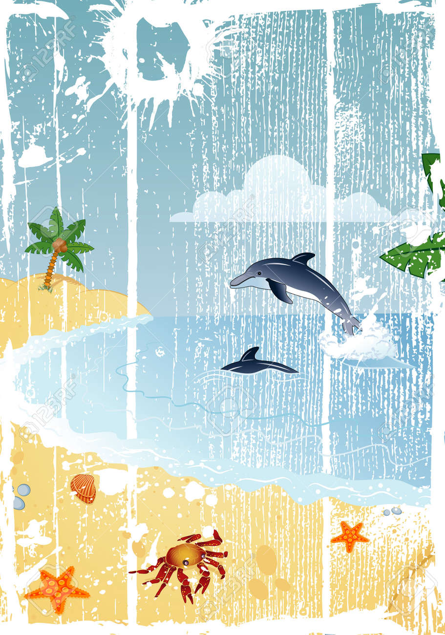Detailed summer grunge background with palm tree, coconut, dolphin, crab, starfish..., vector illustration Stock Photo - 1149182
