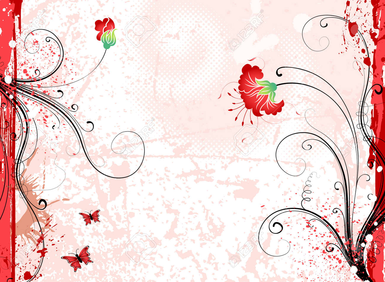 Grunge paint flower background with butterfly, element for design, vector illustration Stock Illustration - 1222361