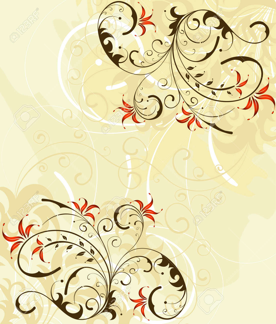 Grunge paint flower background, element for design, vector illustration Stock Illustration - 1261236