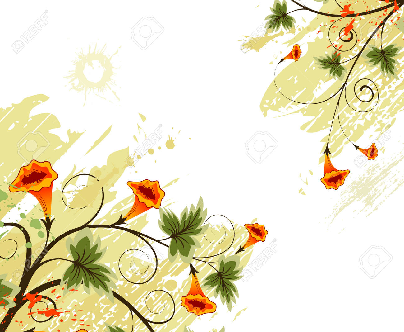 Grunge paint flower background, element for design, vector illustration Stock Illustration - 1319564