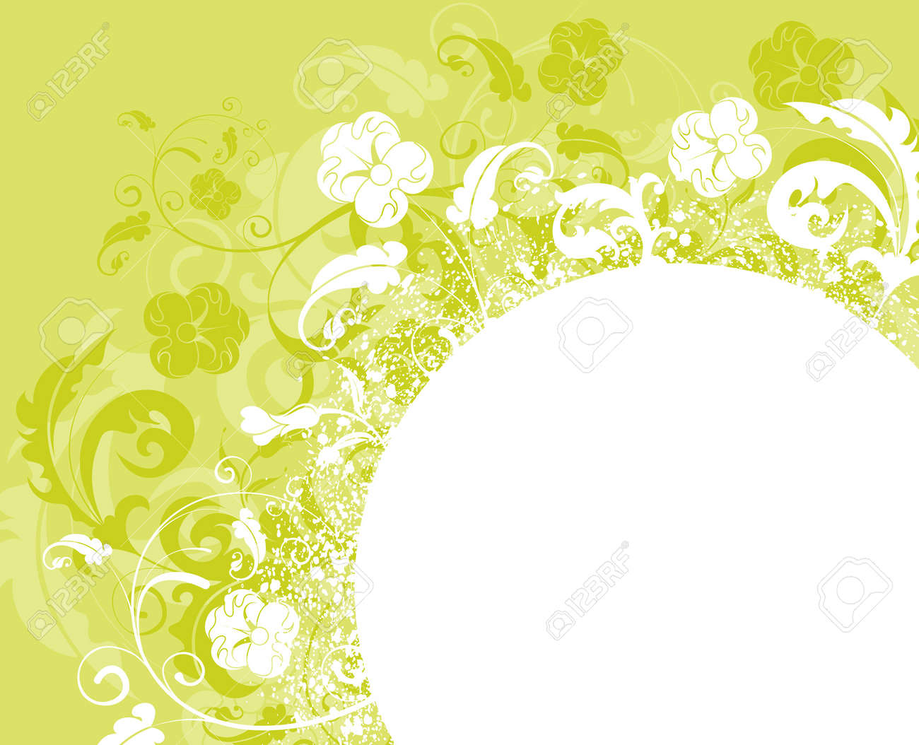 Grunge paint flower background with circle, element for design, vector illustration Stock Vector - 1533608