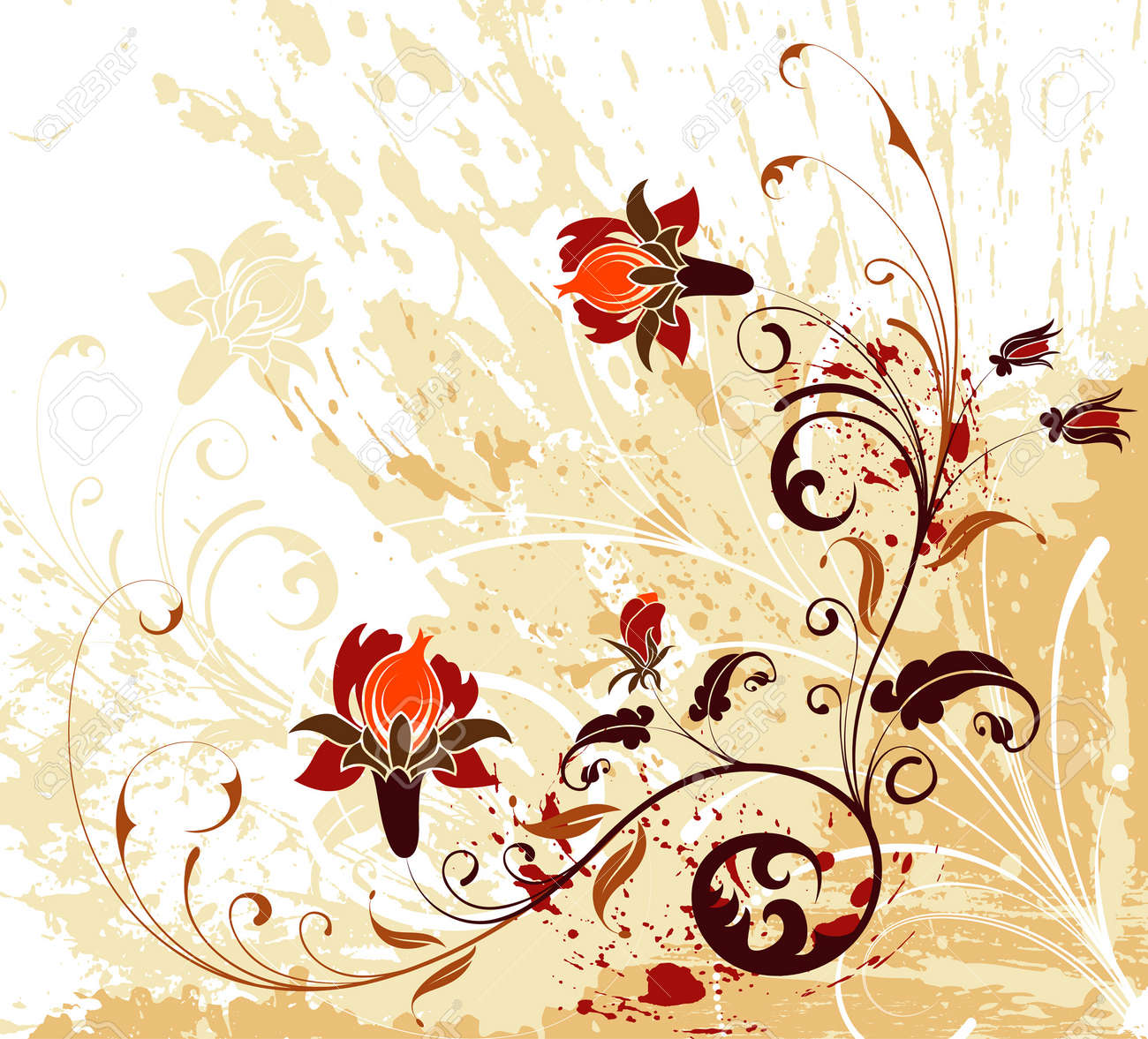 Grunge paint flower background with splashes, element for design, vector illustration Stock Vector - 1738497