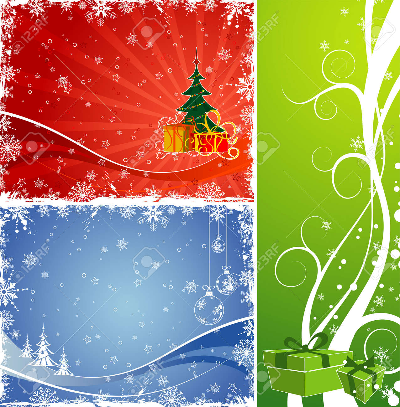 Three christmas background with gift, baubles, Christmas tree, element for design, vector illustration Stock Vector - 2225057