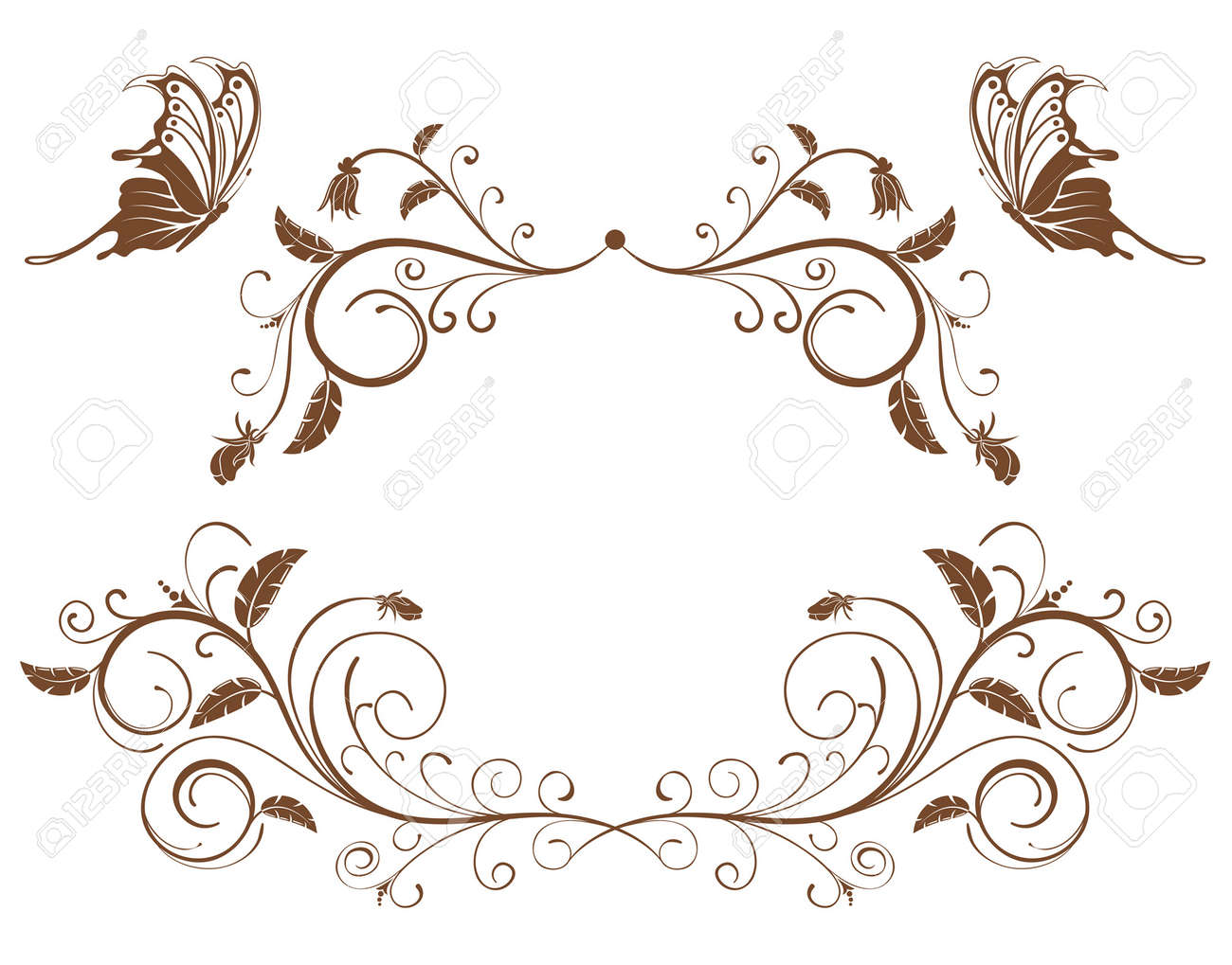 Collect flower border with butterfly, element for design, vector illustration - 2750505