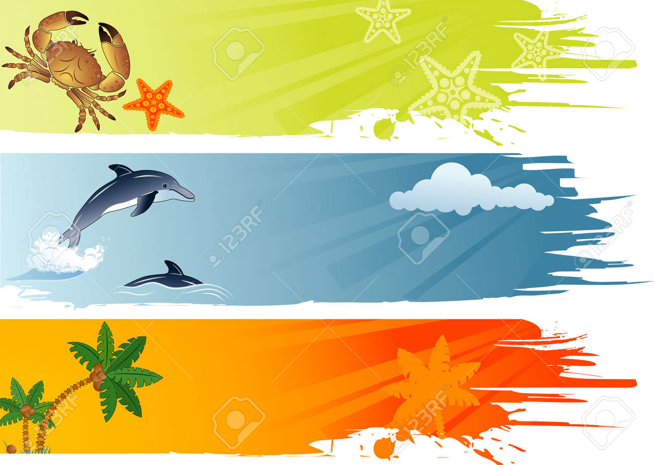 Three summer banner with palm tree, coconut, dolphin, crab, starfish, vector illustration Stock Vector - 3039933