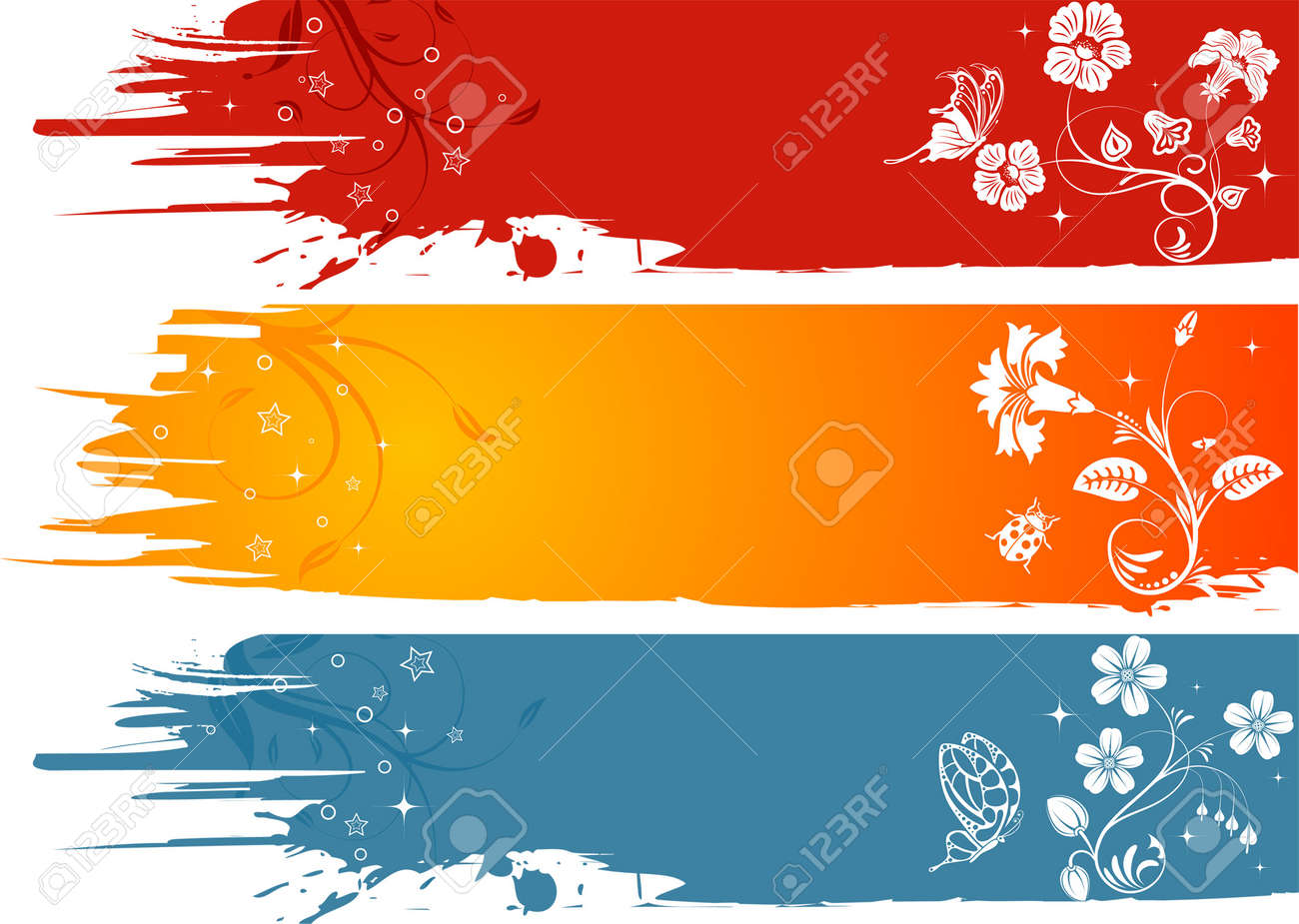 Three grunge flower background with butterfly and ladybug, element for design, vector illustration Stock Vector - 3125423