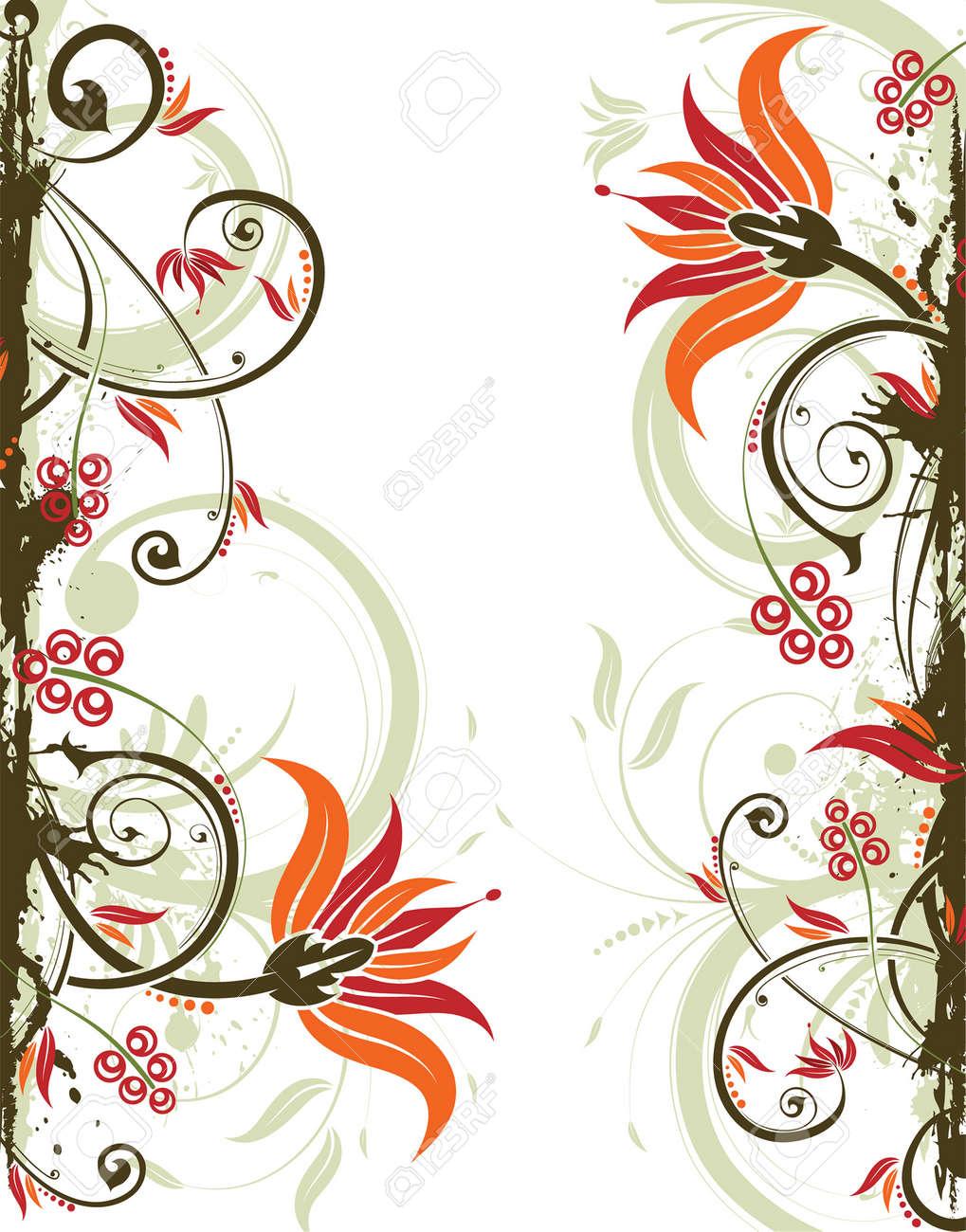 Grunge floral frame, element for design, vector illustration Stock Vector - 3447520
