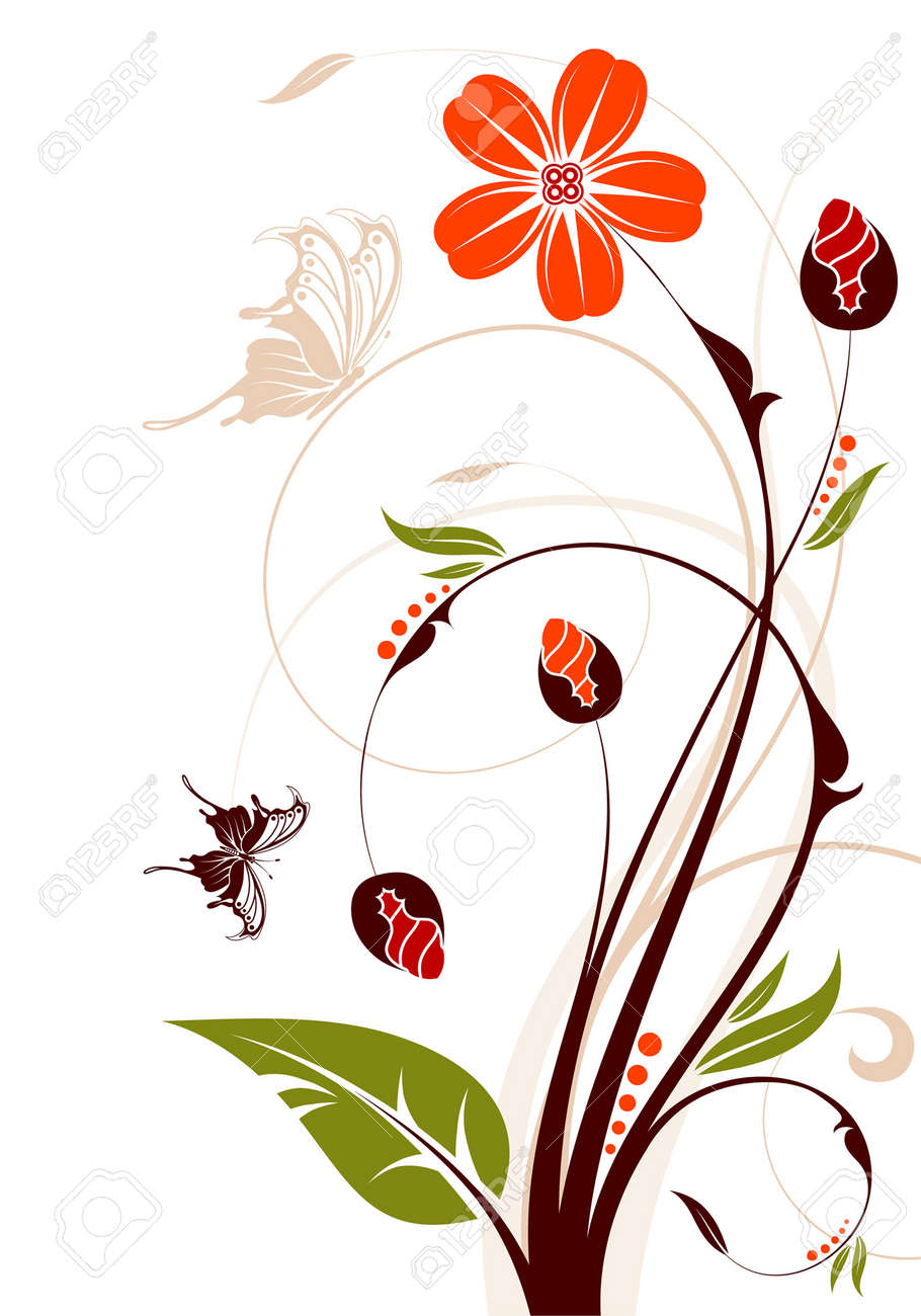 Floral background with butterfly, element for design, vector illustration Stock Vector - 3492218