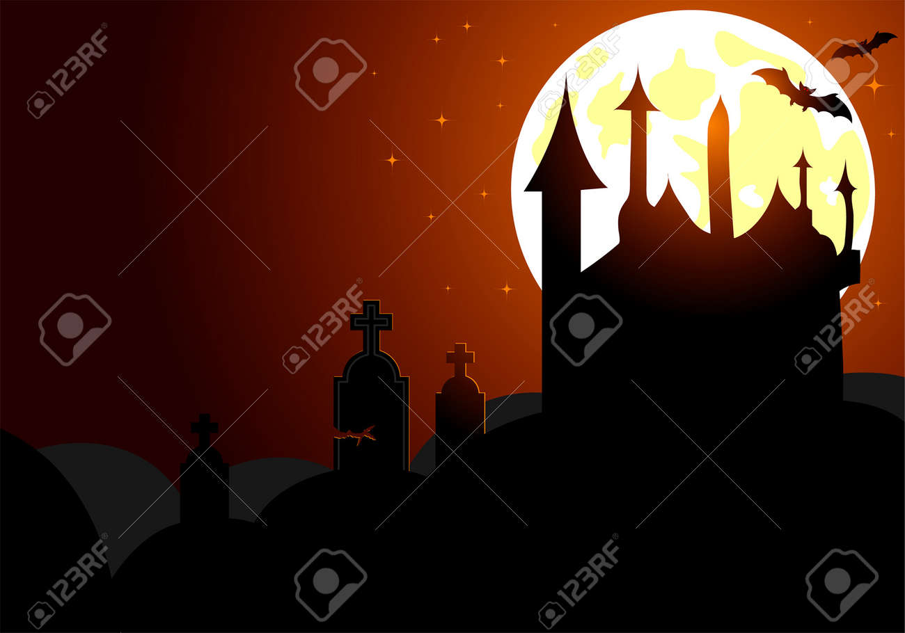 Halloween background with bat and , element for design, vector illustration Stock Vector - 3522714