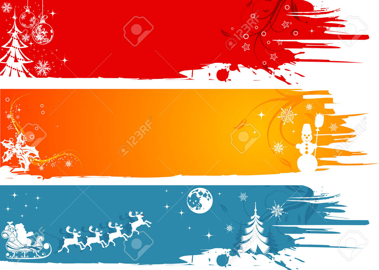 Three grunge Christmas frame with Santa, snowman, snowflakes, element for design, vector illustration Stock Vector - 3546164