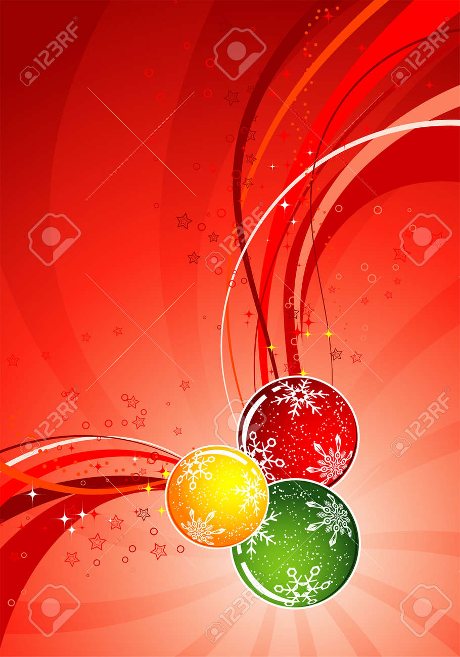 Christmas background with sphere and wave pattern, element for design, vector illustration Stock Vector - 3745927