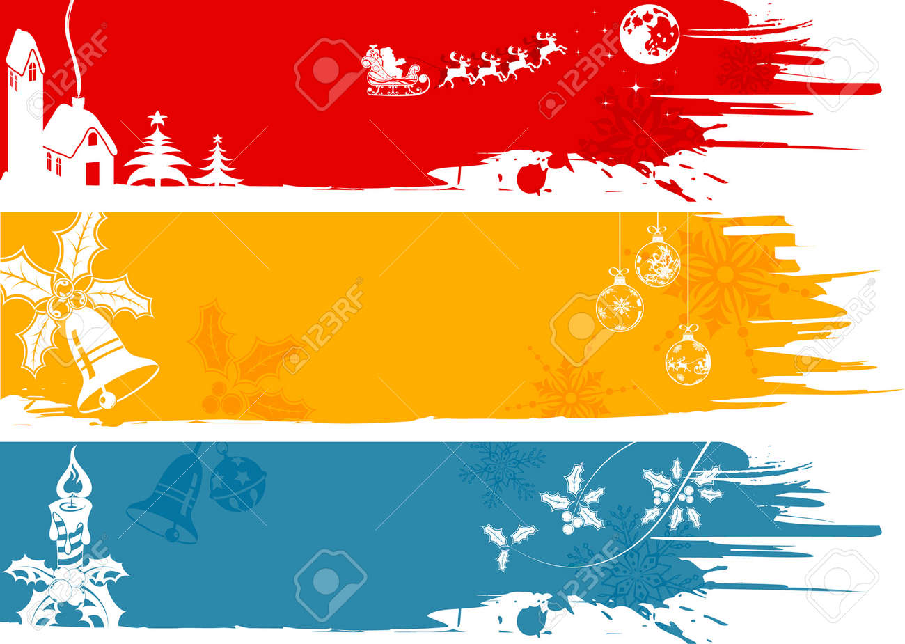 Three Christmas Banner With Tree, Santa, House, Element For Design ...