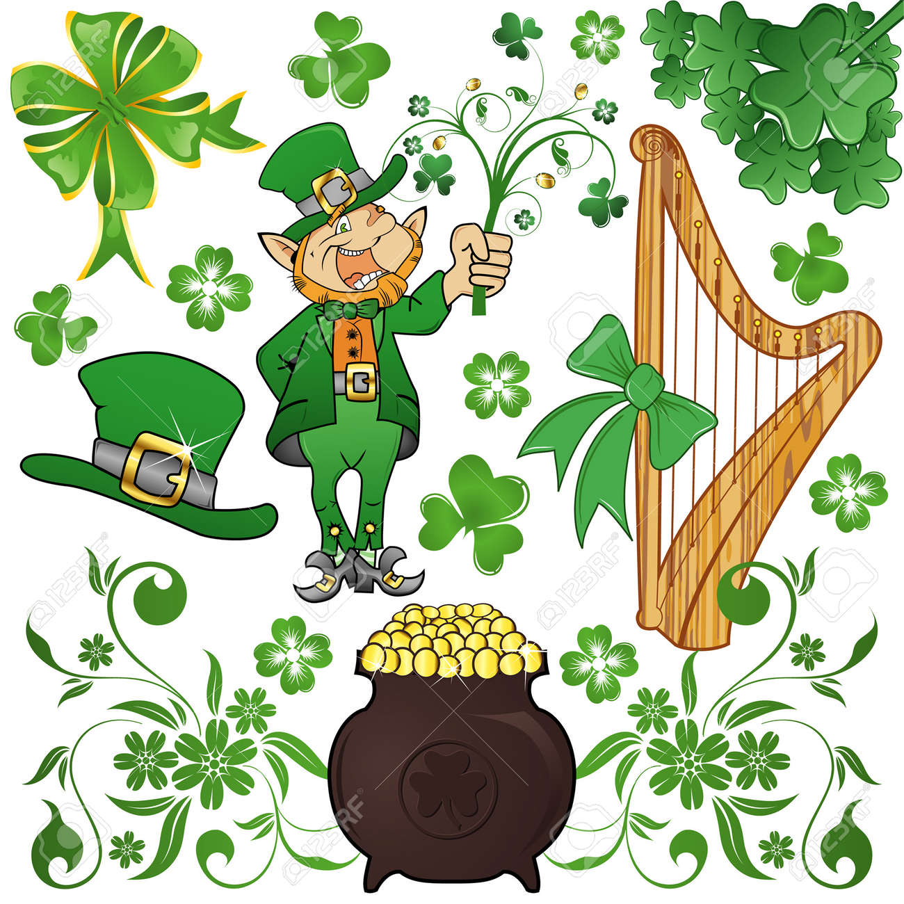 st patrick u0027s day set with clover leprechaun and cauldron royalty