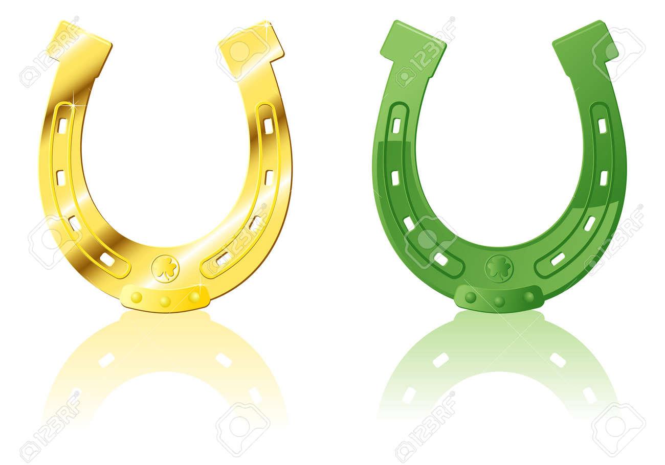 Gold & Green ornate Horseshoe, vector illustration Stock Vector - 4382907