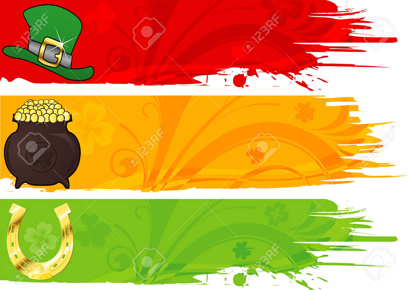 Three St. Patrick's Banner with hat, cauldron and horseshoe Stock Vector - 4382910