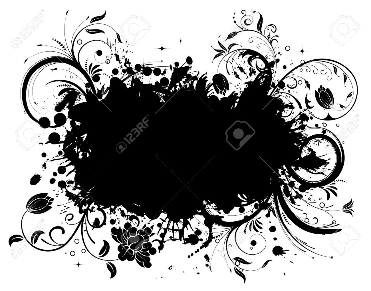 Grunge Floral Frame, element for design, vector illustration Stock Vector - 4450555