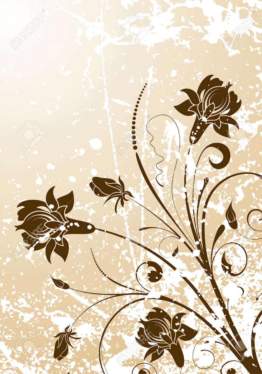 Grunge Floral background for design, vector illustration Stock Vector - 5171666