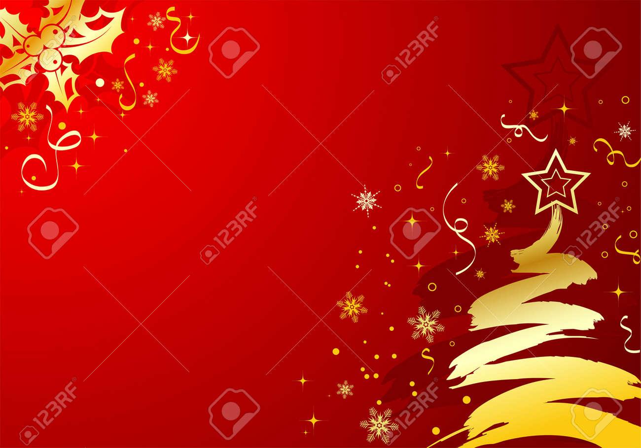Christmas background with tree & mistletoe, element for design, vector illustration Stock Vector - 5221046