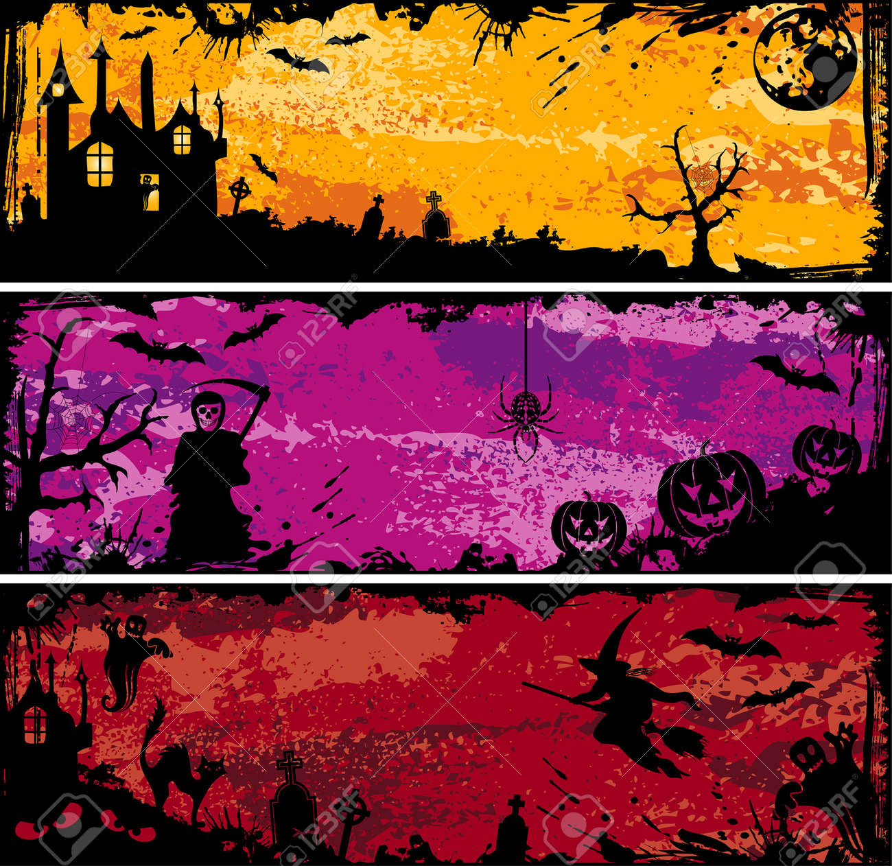 Three grunge Halloween frame with bat, pumpkin, witch, ghost, element for design, vector illustration Stock Vector - 5493137