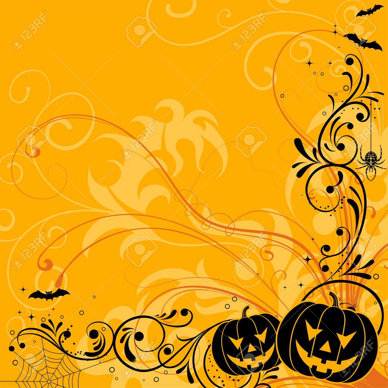 Halloween background with bat, pumpkin, element for design, vector illustration Stock Vector - 5493122