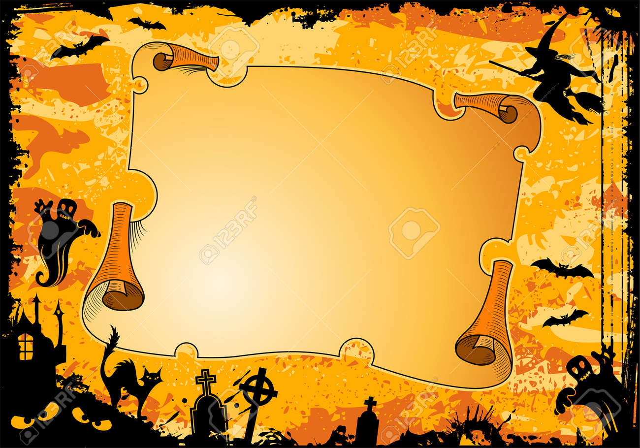 Grunge Halloween frame with roll, bat, witch, ghost, element for design, vector illustration Stock Vector - 5493136