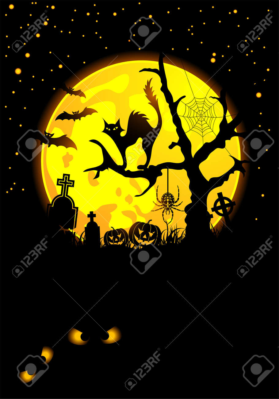 Halloween background with bat, pumpkin and cat, element for design, vector illustration Stock Vector - 5560650
