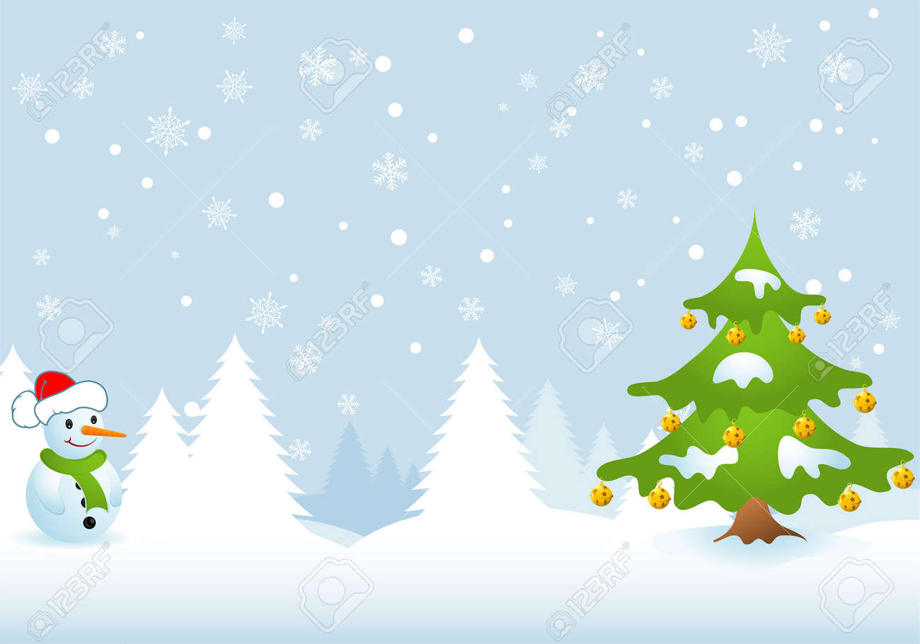 Christmas Background with Tree and Snowman, element for design, vector illustration Stock Vector - 5842496