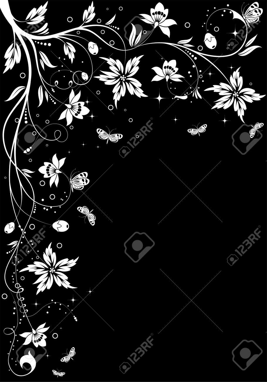 Floral frame with butterfly, element for design,  illustration Stock Vector - 7910814