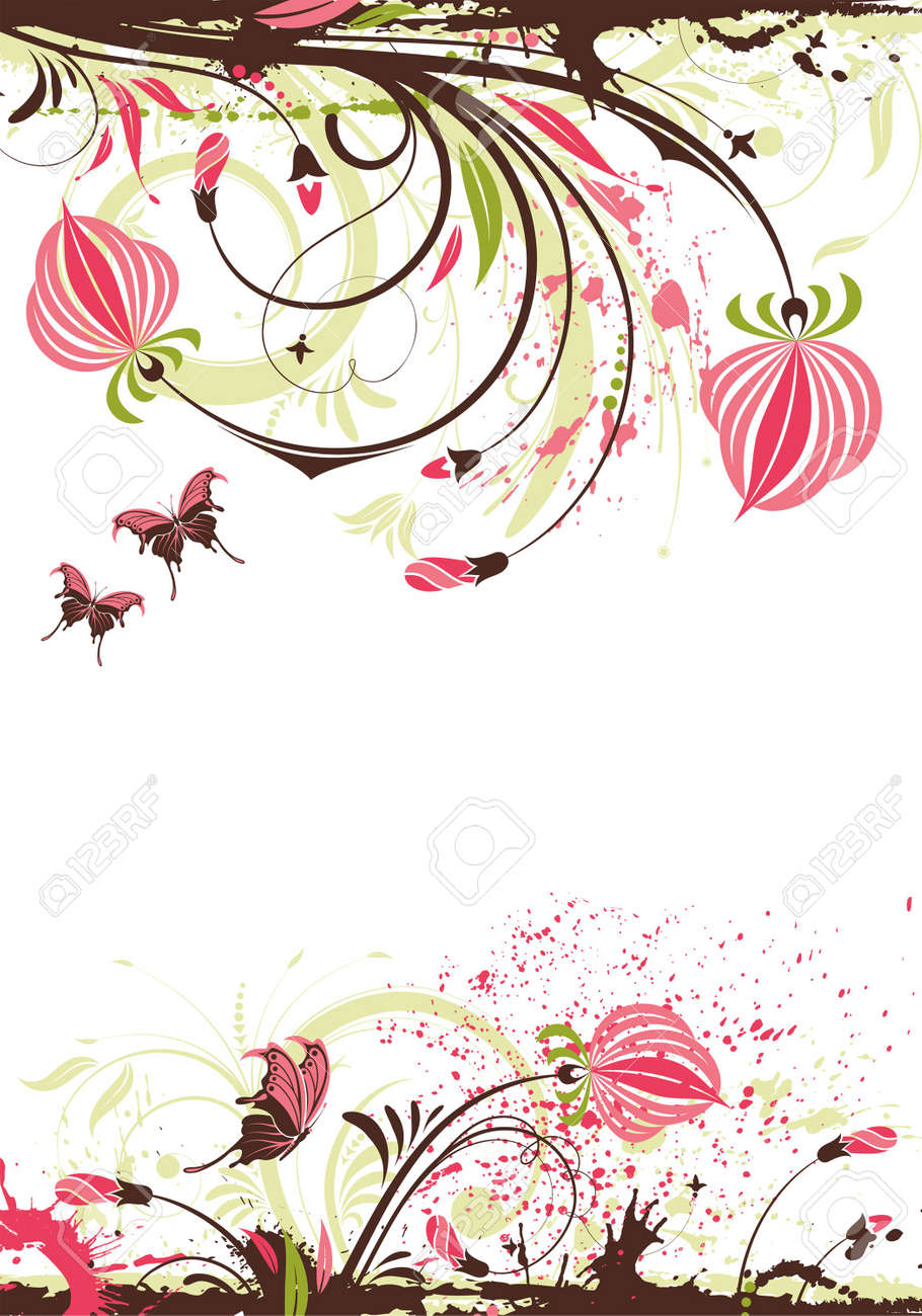 Grunge floral frame with butterfly, element for design,  illustration Stock Vector - 8021638