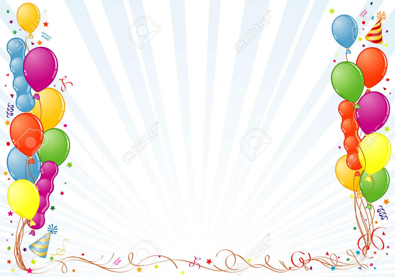 Marco De Cumpleaños Con Globo, Streamer Y Sombrero De Partido ...